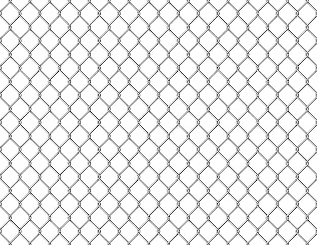 Fence chain seamless. metallic wire link mesh seamless pattern prison barrier secured property barbed wall steels realistic Premium Vector