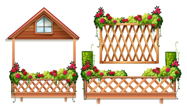 fence design. Fence Design With Roses And Bush Free Vector Fence H