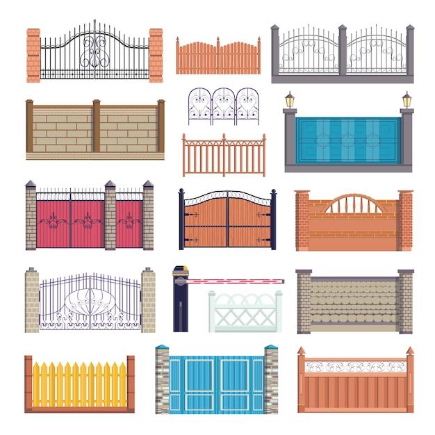 フェンス、白い背景の上の図のゲートセット。木製、金属、石レンガの壁、障壁。金属鍛造の屋外フェンスアーキテクチャ要素、改札付きの石積み生垣。 Premiumベクター