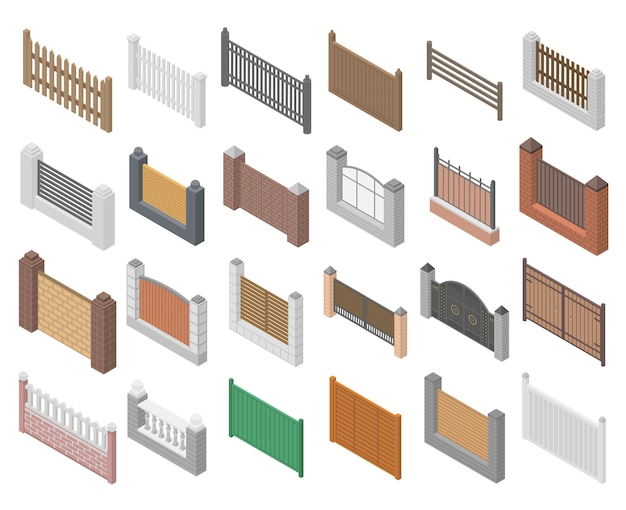 Fence icons set, isometric style Premium Vector
