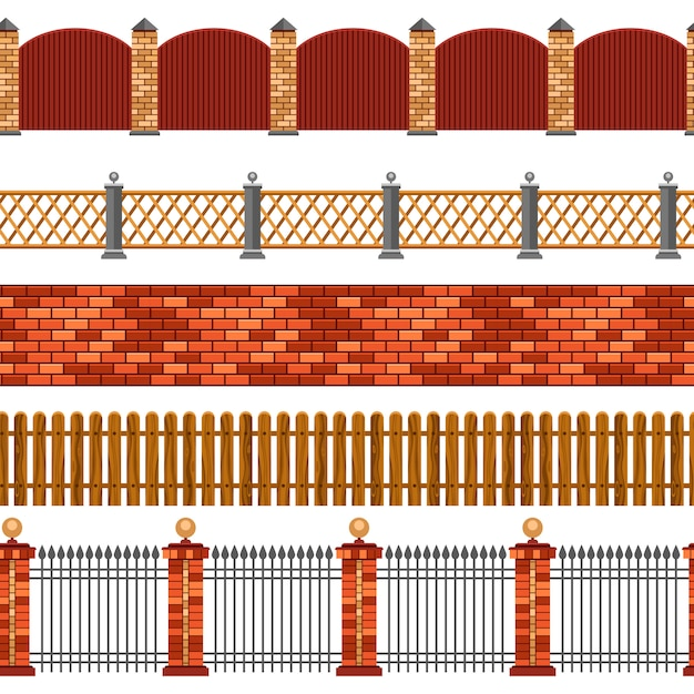 Fence seamless border set Free Vector