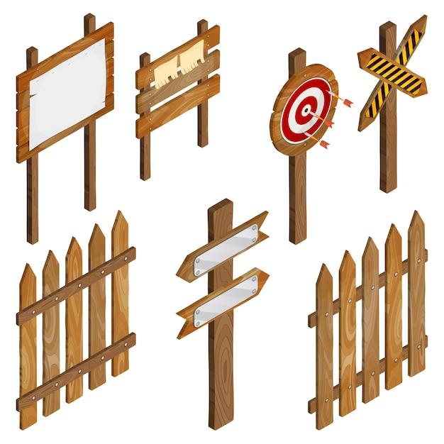 Fence, wooden signboards, arrow sign, target dart. Premium Vector