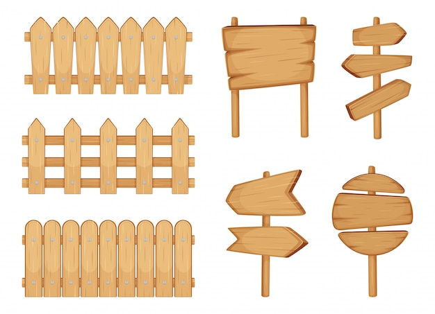 Fences of garden and signs with wood texture. vector illustration set isolate on white Premium Vector