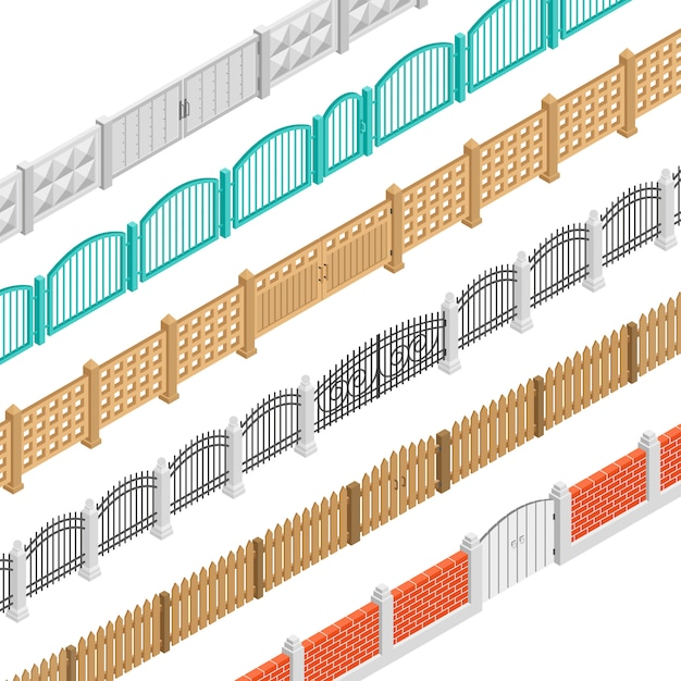 Fences and gate isometric elements Free Vector