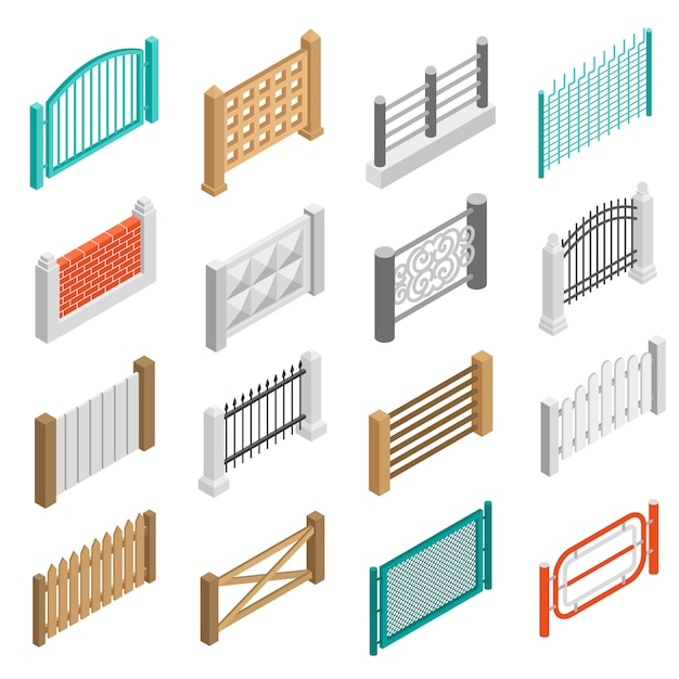 Fences types elements icons isometric collection Free Vector