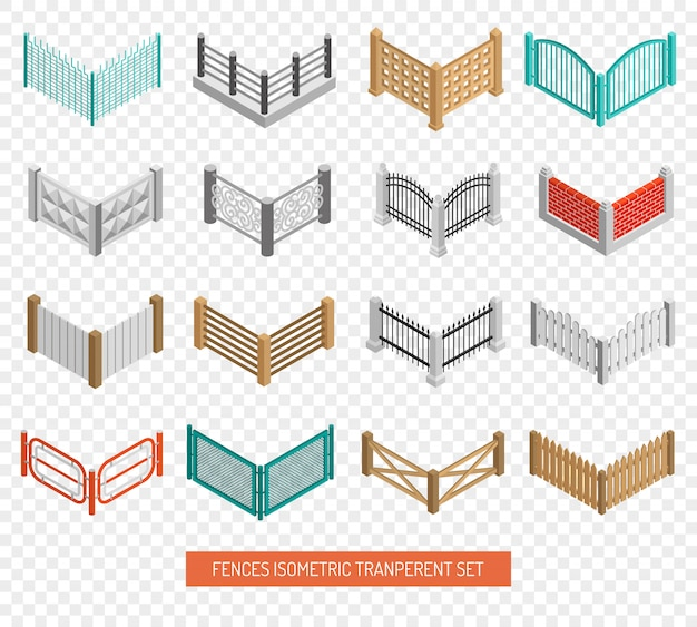 Fences types icons isometric transparent set Free Vector