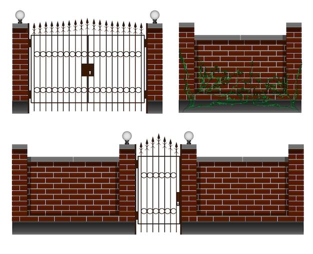 フェンシング、レンガ塀のある入り口、錬鉄製の門と門。庭やコテージの民家用。 Premiumベクター