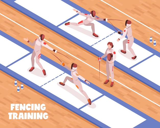 Fencing saloon training background Free Vector