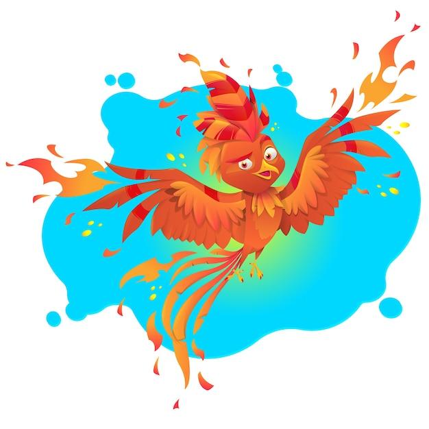 Феникс огненная птица мультипликационный персонаж Premium векторы
