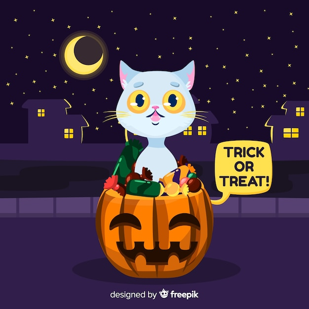 Feral halloween cat in a city Free Vector