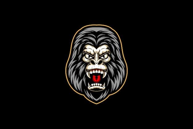 Свирепая голова гориллы Premium векторы
