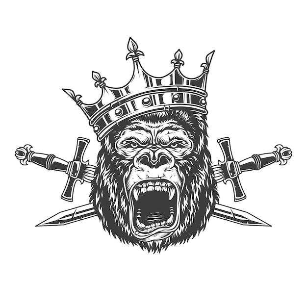 王冠の凶暴なゴリラの王の頭 無料ベクター