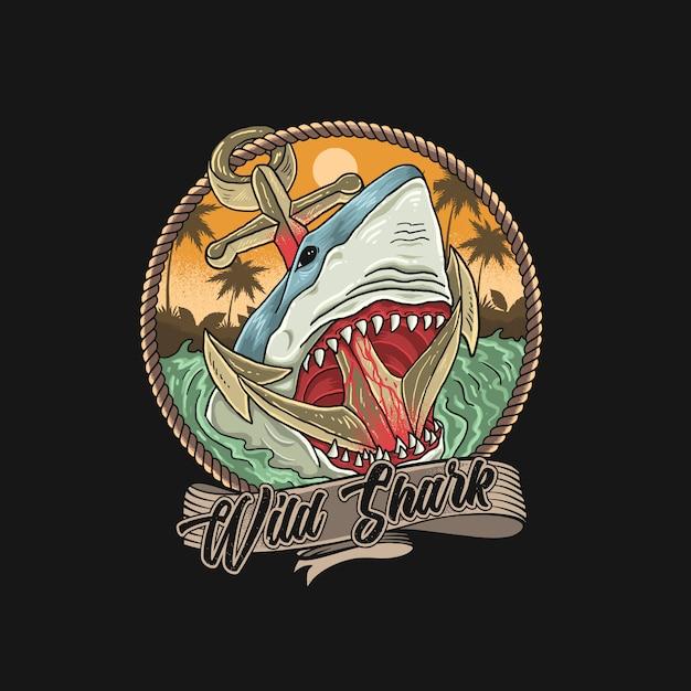 Свирепая акула на пляже с якорями Premium векторы
