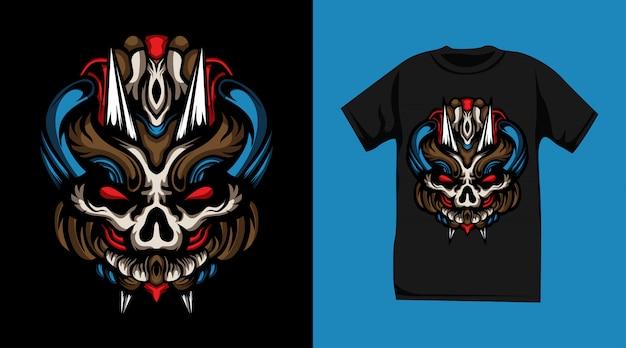 Дизайн футболки с изображением свирепого черепа-монстра Premium векторы