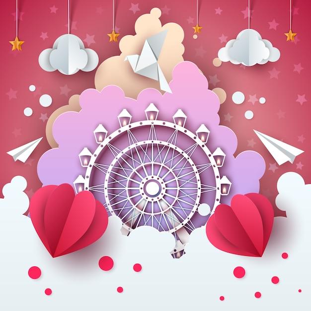 Ferris wheel in cloud cartoon illustration. Premium Vector
