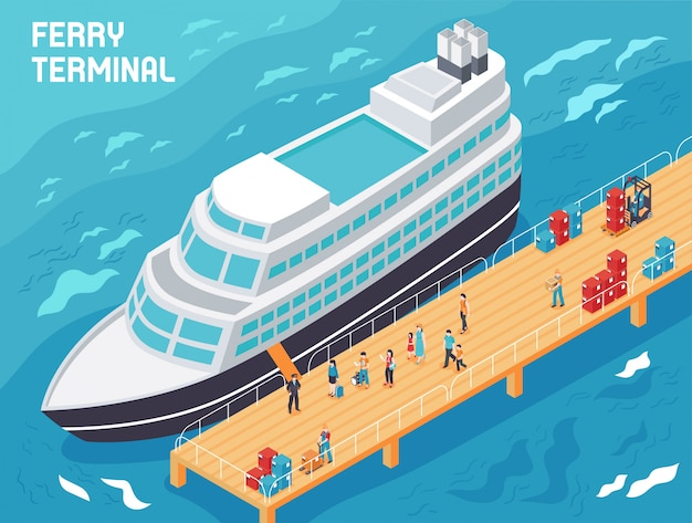 Ferry terminal with modern vessel  tourists and loaders with cargo on pier isometric illustration Free Vector