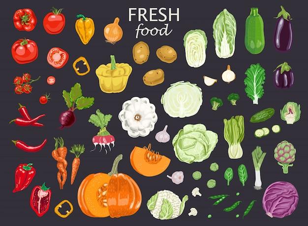 Fesh food and vegetables Premium Vector