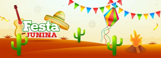 Дизайн баннера или плаката для вечеринки festa для festa junina cele Premium векторы