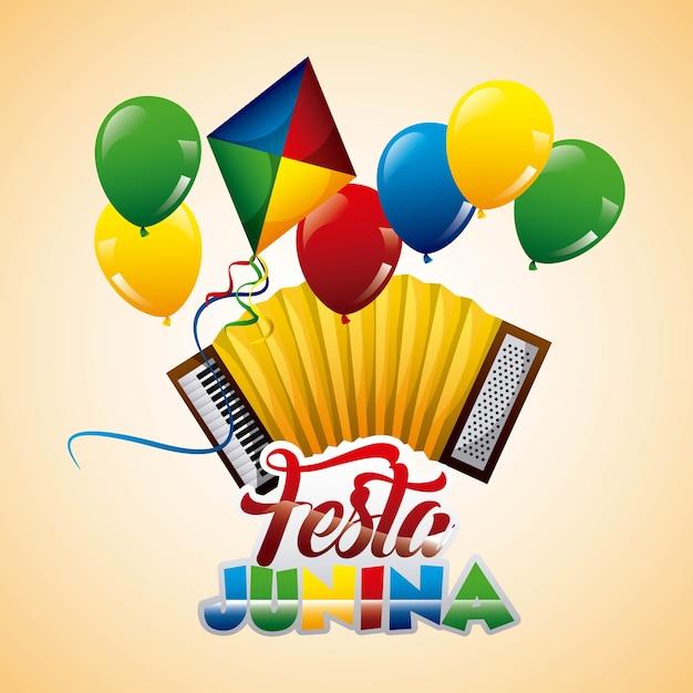 Festa junina аккордеон воздушный шар кайт праздничный Premium векторы