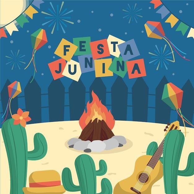 Festa junina background concept Free Vector