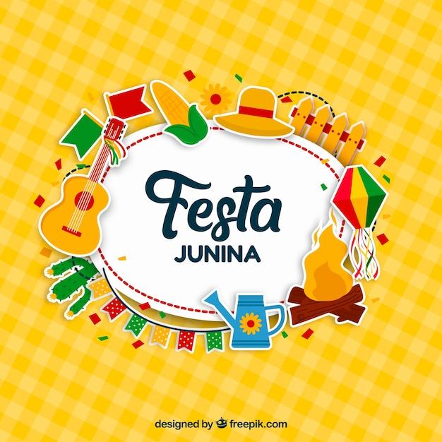 Festa junina background design with elements Free Vector