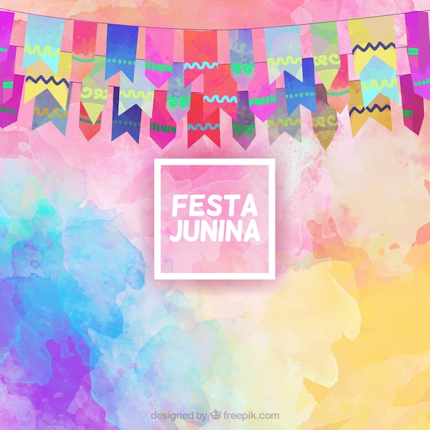 Festa junina background in watercolor effect with garlands Free Vector