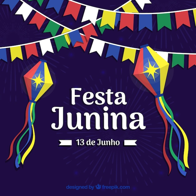 Festa junina background with colorful pennants Free Vector