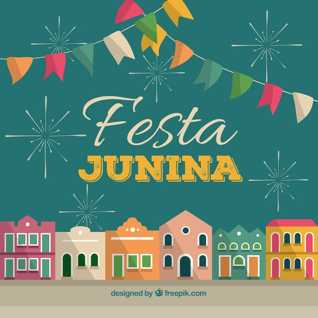 Festa Junina Background With Colorful Town Free Vector