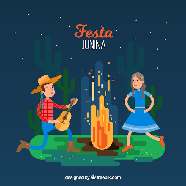 Festa junina background with couple dancing\ around a campfire