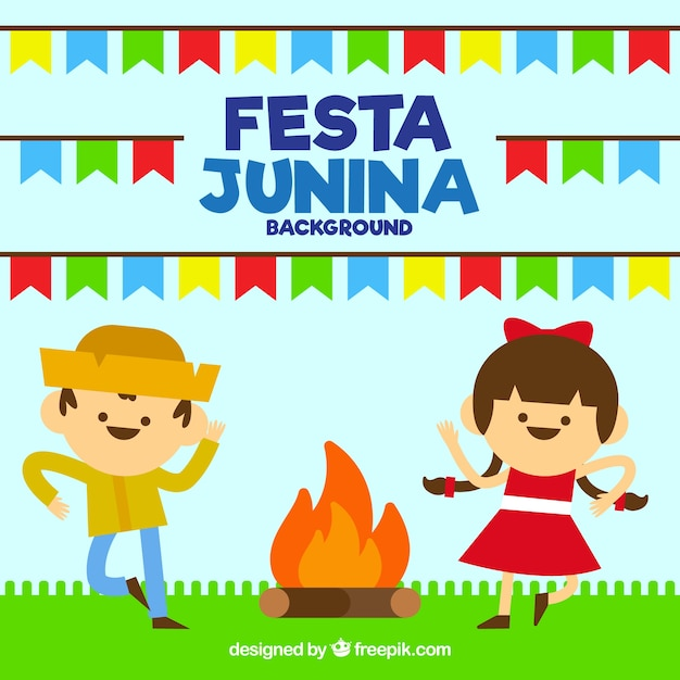 Festa junina background with couple dancing\ around the bonfire