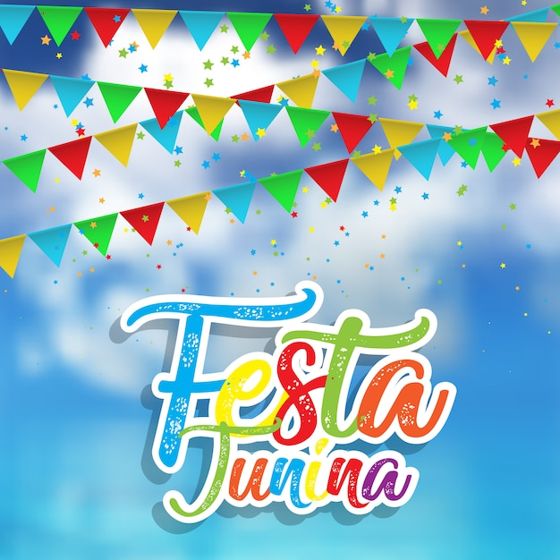 Festa junina background with defocussed sky Premium Vector