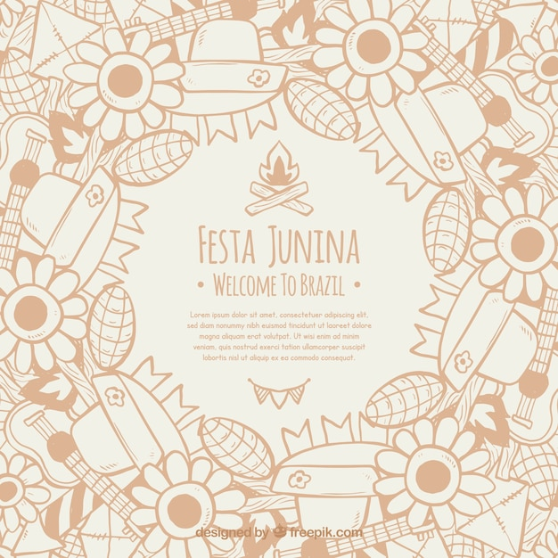 Festa junina background with elements Free Vector