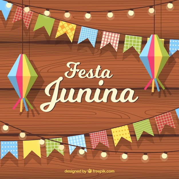 Festa junina background with flat pennants and lamps Free Vector