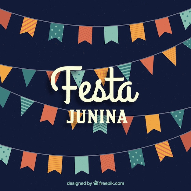 Festa junina background with flat pennants Free Vector