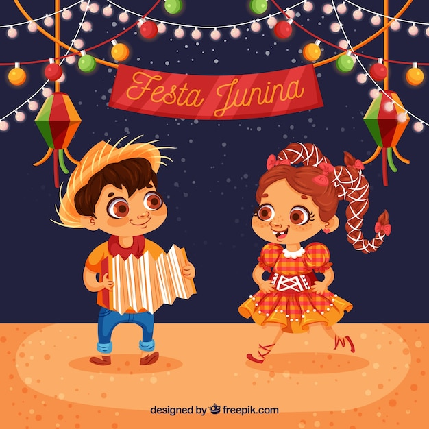 Festa junina background with happy kids dancing Free Vector