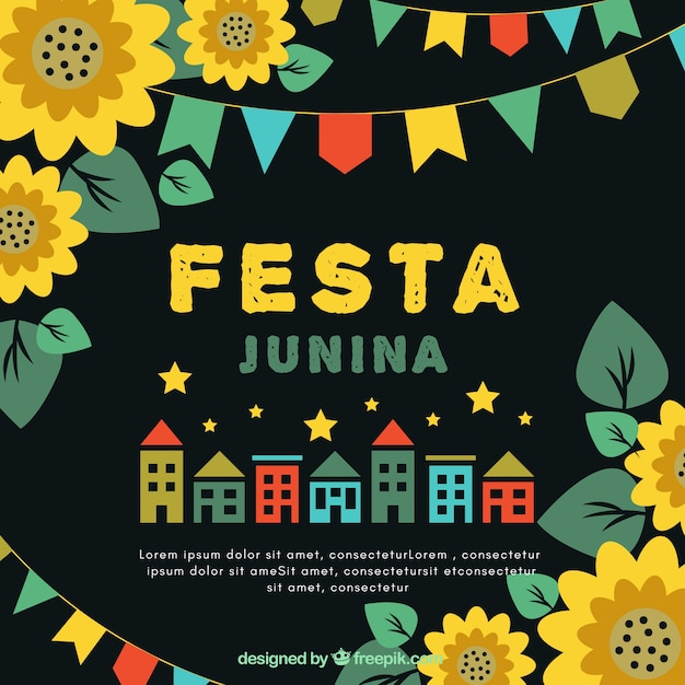 Festa junina background with houses and sunflowers Free Vector