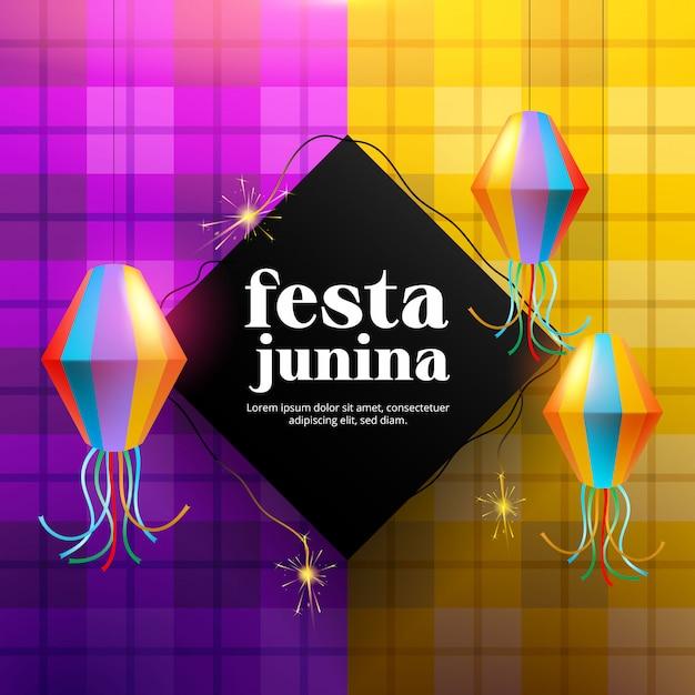 Феста junina фон с бумажной лампой и фейерверком Бесплатные векторы