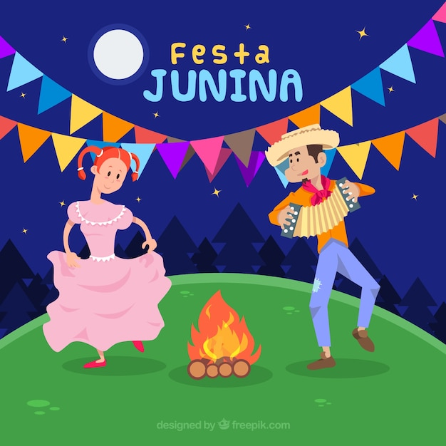 Festa junina background with people dancing and\ playing