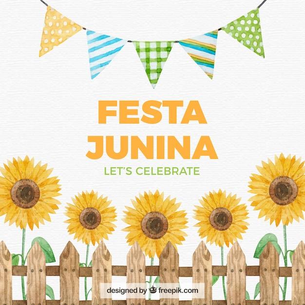 Festa junina background with watercolor elements Free Vector