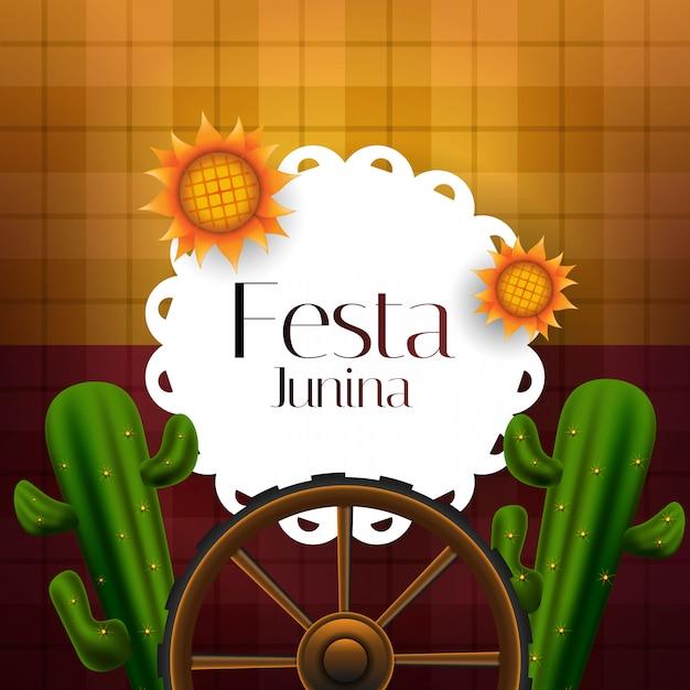 Festa junina banner decorated cactus and sunflowers Premium Vector
