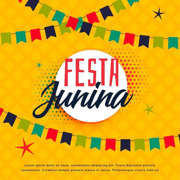 Festa junina brazilian greeting template Free Vector