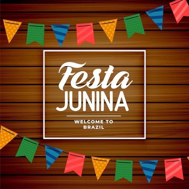 Festa junina brazilian june holiday background Free Vector