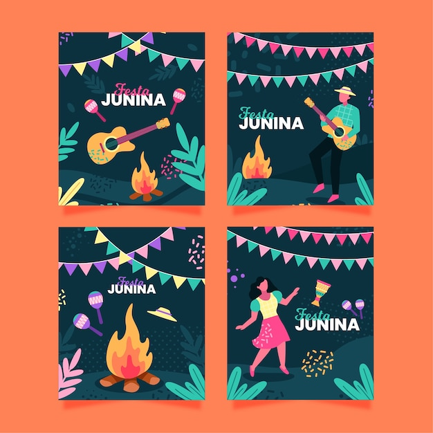 Festa junina card collection concept Free Vector