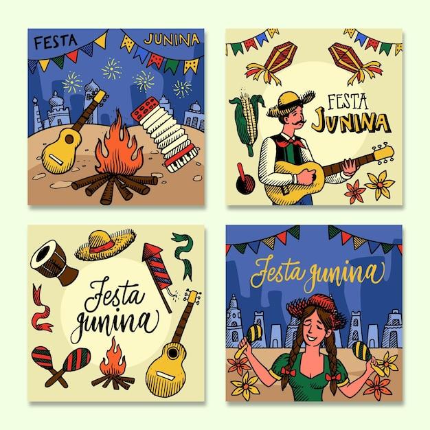 Festa junina card collection template Free Vector
