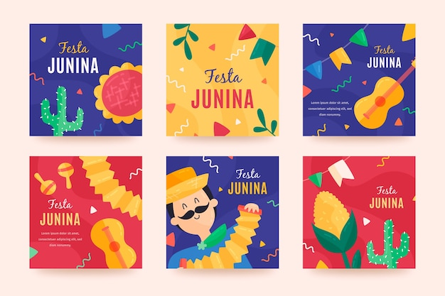 Festa junina card collection theme Free Vector