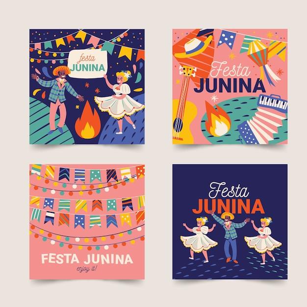 Тема коллекции открыток festa junina Бесплатные векторы