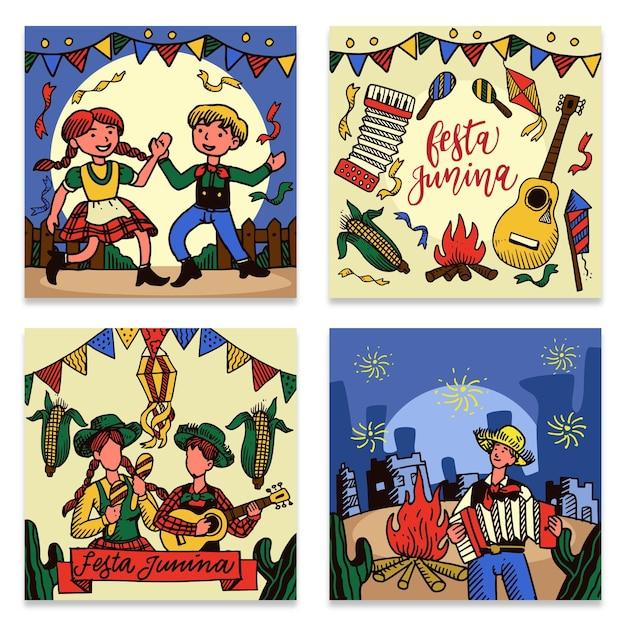 Festa junina card collection Free Vector
