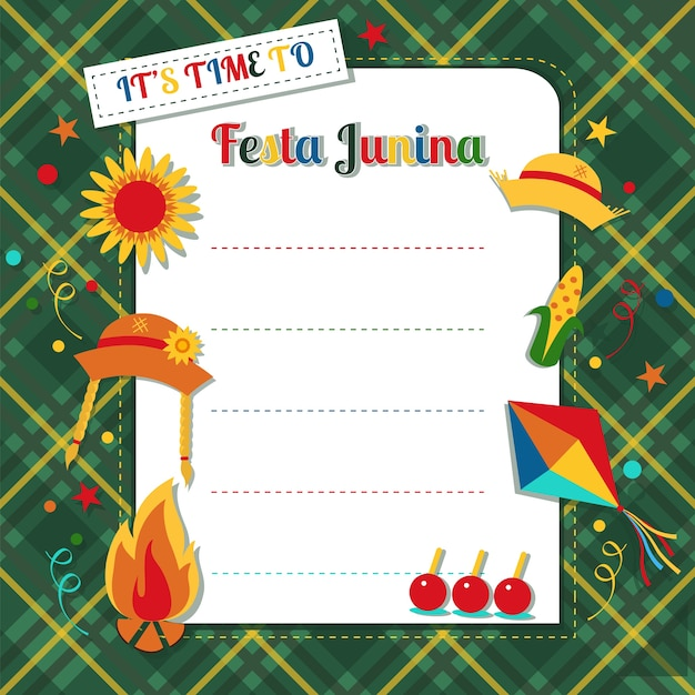 Festa junina card on plaid background Premium Vector