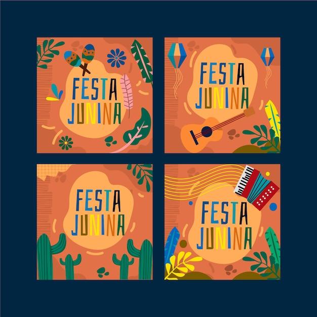 Концепция набора карт festa junina Бесплатные векторы