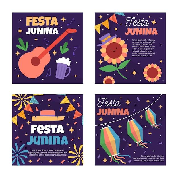 Festa junina card template collection theme Free Vector